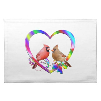 Cardinal Couple in Colorful Heart Placemat