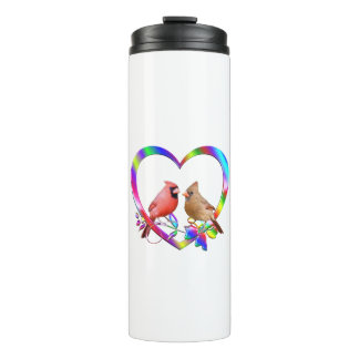 Cardinal Couple in Colorful Heart Thermal Tumbler