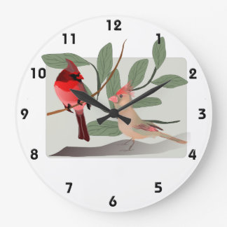 Cardinal Couple in the Tree Branches Large Clock