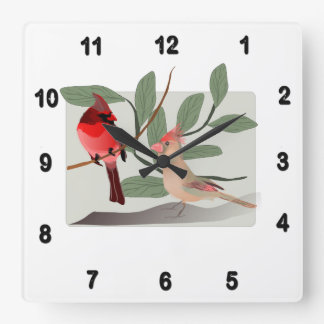 Cardinal Couple in the Tree Branches Square Wall Clock