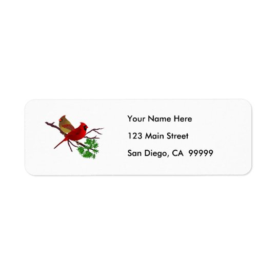 Cardinal Couple on a Branch Return Address Label