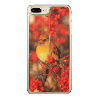 Cardinal female and red berries, IL Carved iPhone 7 Plus Case