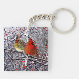 Cardinal Forest Double-Sided Square Acrylic Key Ring