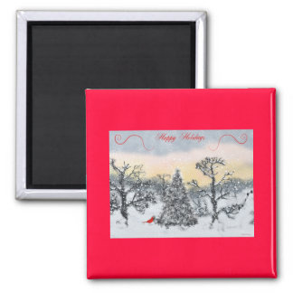 Cardinal Holiday Greetings Square Magnet