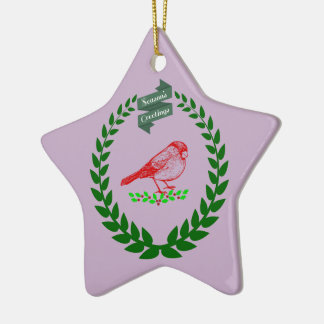 Cardinal In The Middle Of The Christmas Wreath Ceramic Ornament