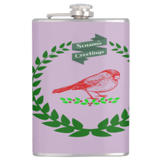 Cardinal In The Middle Of The Christmas Wreath Hip Flask