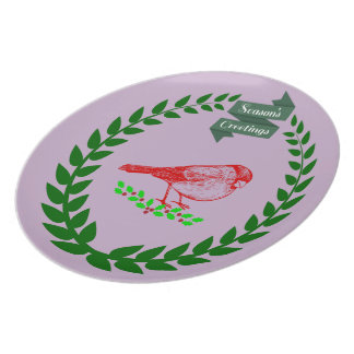 Cardinal In The Middle Of The Christmas Wreath Plate