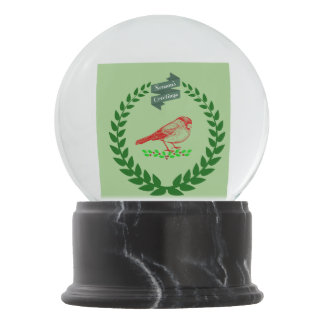 Cardinal In The Middle Of The Christmas Wreath Snow Globe