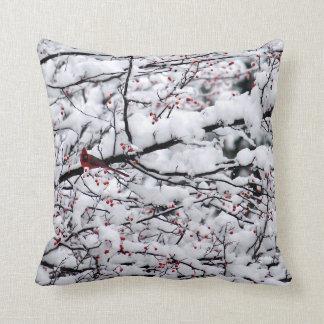 Cardinal in the Snow 6153 Throw Pillow