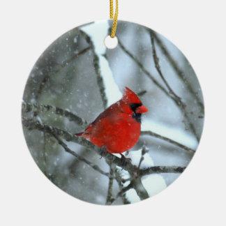 Cardinal In The Snow Ceramic Ornament