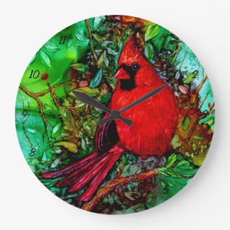 Cardinal In the Tree Large Clock