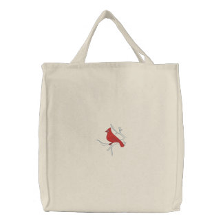 Cardinal in Winter Embroidered Bag