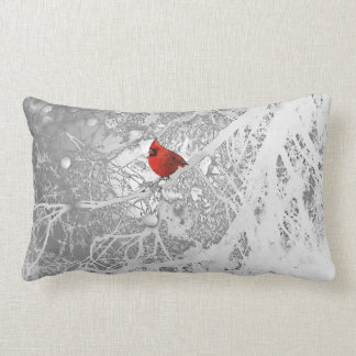 Cardinal in Winter Lumbar Cushion