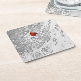 Cardinal in Winter Square Paper Coaster