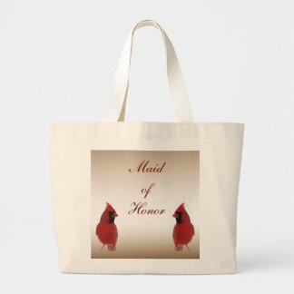 Cardinal Maid of Honor Wedding Jumbo Tote Bag