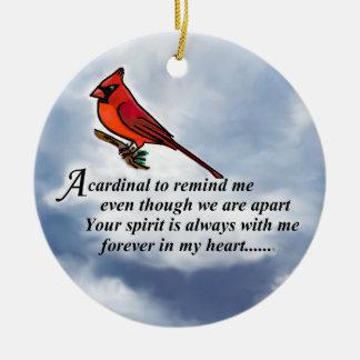 Cardinal Memorial Poem Round Ceramic Decoration