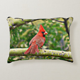 Cardinal on a Limb Throw Pillow