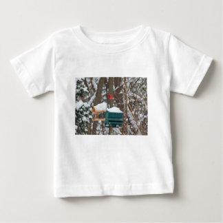 Cardinal on Birdfeeder Baby T-Shirt