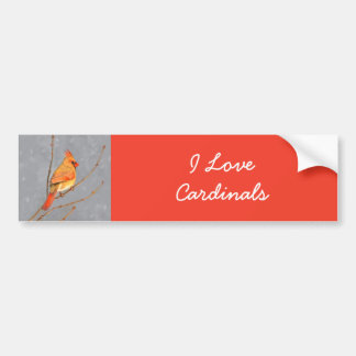 Cardinal on Branch Bumper Sticker