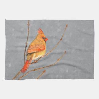 Cardinal on Branch Painting - Original Bird Art Tea Towel