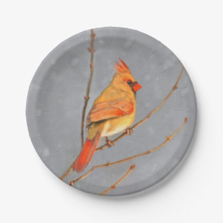 Cardinal on Branch Paper Plate