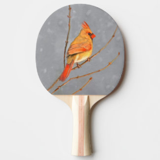 Cardinal on Branch Ping Pong Paddle