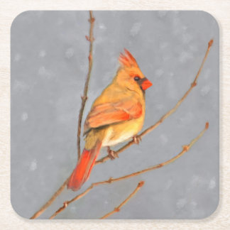 Cardinal on Branch Square Paper Coaster