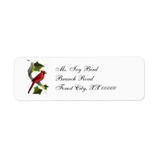 Cardinal on Branch with Ivy Leaves Christmas Return Address Label