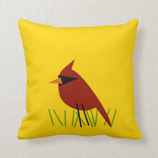Cardinal on Grass with Bright Yellow Throw Pillow