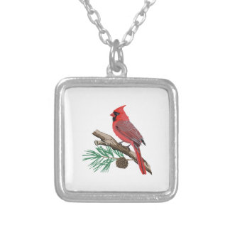 CARDINAL ON PINE SILVER PLATED NECKLACE