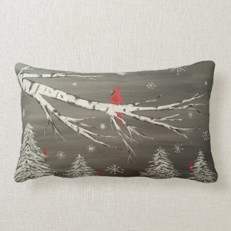 Cardinal on Snowy Birch Decorative Pillow