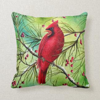 Cardinal Painting Throw Pillow
