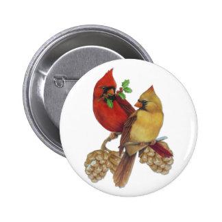 Cardinal Pair Pinback Buttons
