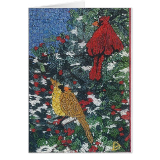 Cardinal Pair on a Pine Tree Card