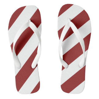 Cardinal Red and White Striped Flip Flops