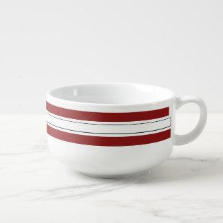 Cardinal Red White Striped School Colors Soup Mug