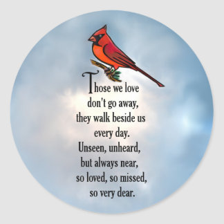 "Cardinal ""So Loved"" Poem Classic Round Sticker"