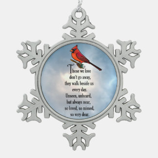 "Cardinal ""So Loved"" Poem Snowflake Pewter Christmas Ornament"
