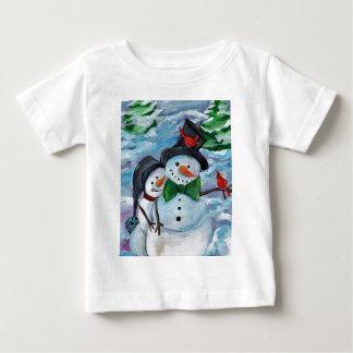 Cardinal visiting Snowmen Baby T-Shirt