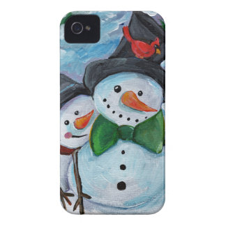 Cardinal visiting Snowmen Case-Mate iPhone 4 Case