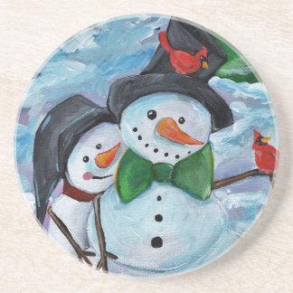 Cardinal visiting Snowmen Coaster