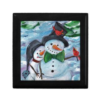 Cardinal visiting Snowmen Gift Box