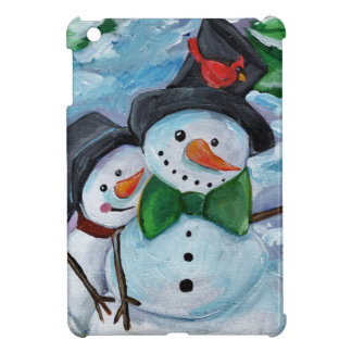 Cardinal visiting Snowmen iPad Mini Covers