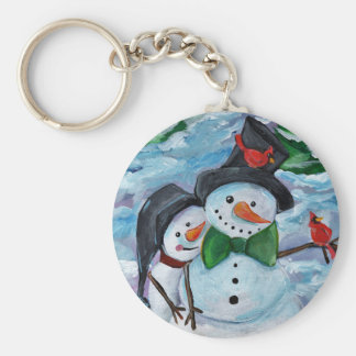 Cardinal visiting Snowmen Key Ring