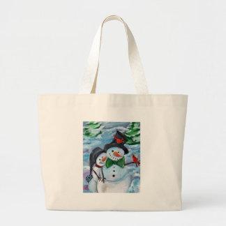 Cardinal visiting Snowmen Large Tote Bag