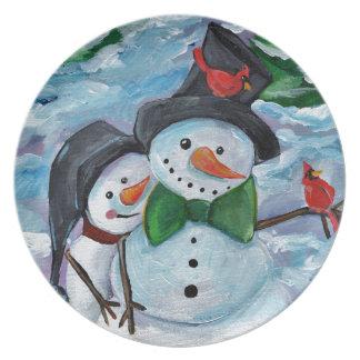 Cardinal visiting Snowmen Plate