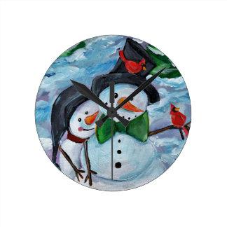Cardinal visiting Snowmen Round Clock