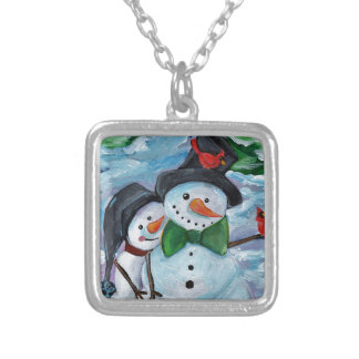 Cardinal visiting Snowmen Silver Plated Necklace