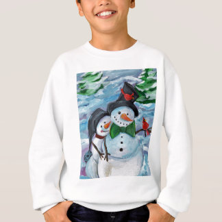Cardinal visiting Snowmen Sweatshirt