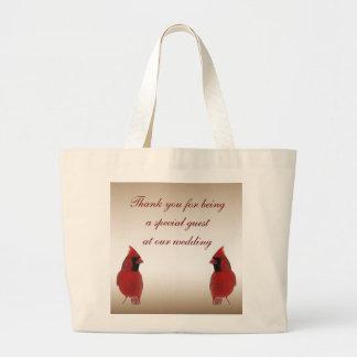 Cardinal Wedding Favor Jumbo Tote Bag